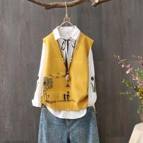 Vest Autumn 2020 routine V-neck commute Solid color No buckle other 51% (inclusive) - 70% (inclusive) Button