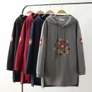 Women's large Winter of 2018 Black, Navy, Burgundy, grey XL (130-145 kg), 2XL (145-168 kg), 3XL (168-190 kg), 4XL (190-220 kg) Sweater / sweater singleton  commute easy thick Socket Long sleeves Decor literature Hood Medium length cotton Three dimensional cutting routine 40-49 years old Embroidery