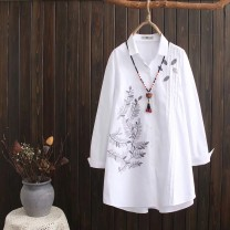 shirt white XL,2XL,3XL,4XL Spring of 2019 cotton 81% (inclusive) - 90% (inclusive) Long sleeves Versatile Medium length Polo collar Single row multi button routine Broken flowers 25-29 years old Other / other Embroidery