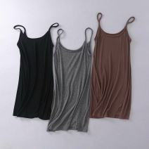 Dress Summer of 2019 Black, grey, brown S, M Short skirt singleton  Sleeveless street Solid color Socket camisole cotton Europe and America