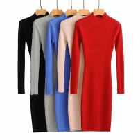 Dress Autumn 2020 Black, blue, red, gray, beige Average size longuette singleton  Long sleeves street Crew neck High waist Solid color Socket routine Splicing knitting other