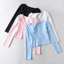 T-shirt White, black, pink, blue S, M Spring 2021 Long sleeves V-neck Self cultivation have cash less than that is registered in the accounts routine street other 30% and below Solid color Europe and America