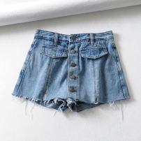 Jeans Summer of 2019 Denim blue XS,S,M,L shorts High waist routine Cotton denim GT8833 96% and above