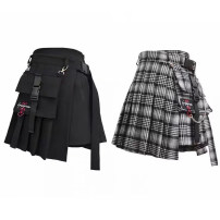 skirt Spring of 2019 S.,M.,L. Black. Red. Check Short skirt street High waist Pleated skirt lattice Type A 18-24 years old 51% (inclusive) - 70% (inclusive) cotton Chain, pocket, tridimensional decoration, asymmetry