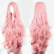 Pink   Long   Hair   synthetic   Wigs   Long   Curly   Wave   Wig   Cosplay