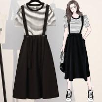 Dress Summer 2020 black L,XL,2XL,3XL,4XL,5XL Mid length dress Two piece set Short sleeve commute Crew neck High waist Solid color A-line skirt puff sleeve straps Type A Korean version pocket