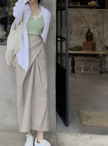 Fashion suit Summer 2021 Average size T-shirt strap, Khaki Skirt 25-35 years old