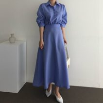 Dress Summer 2021 Blue, black Average size longuette singleton  elbow sleeve commute High waist Solid color Korean version