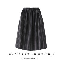 skirt Summer of 2019 Average size Army green wide stripe skirt, dark grey wide stripe skirt Mid length dress commute Natural waist A-line skirt stripe Type A 30% and below Other / other hemp