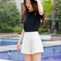 Casual pants Milky white, black XS,S,M,L,XL shorts Wide leg pants High waist Versatile routine 96% and above Cellulose acetate zipper polyester fiber