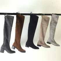 Boots 34 35 36 37 38 39 Cashmere (cashmere) Other / other Flat heel (1cm or less) Thick heel Cashmere (cashmere) long and tube-shaped Round head Pig skin Pig skin Fall 2017 Sleeve Europe and America TPU Solid color Knights' boots Adhesive shoes Pig skin Youth (18-40 years old) winter bow