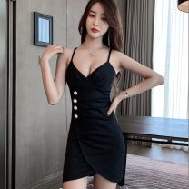 Dress Spring 2021 S,M,L,XL Short skirt singleton  Sleeveless street V-neck middle-waisted Solid color Socket other other camisole 18-24 years old Type X 81% (inclusive) - 90% (inclusive) brocade nylon