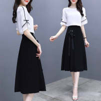 Women's large Summer 2021 Black and white picture color M [recommended 75-90 Jin], l [recommended 90-105 Jin], XL [recommended 105-120 Jin], 2XL [recommended 120-135 Jin], 3XL [recommended 135-150 Jin] Dress Two piece set commute easy moderate Socket Short sleeve Korean version Crew neck routine C776