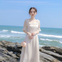 Dress Summer 2021 Apricot XS,S,M,L Mid length dress singleton  Short sleeve commute square neck High waist Solid color zipper A-line skirt Lotus leaf sleeve Others 18-24 years old Type X lady More than 95% other other