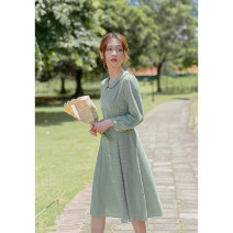 Dress Spring 2021 green XS,S,M,L Mid length dress singleton  Long sleeves commute Doll Collar High waist lattice zipper A-line skirt routine Others 18-24 years old Type X Retro Button, zipper, resin fixation More than 95% other other