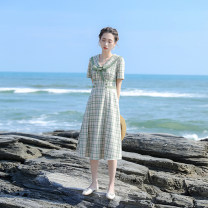 Dress Summer 2021 Light green XS,S,M,L Mid length dress singleton  Short sleeve commute Admiral High waist lattice Single breasted A-line skirt routine Others 18-24 years old Type X Retro Stitching, bandage, button, zipper, resin fixation More than 95% other other