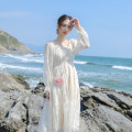 Dress Summer 2021 Apricot XS,S,M,L Mid length dress singleton  Long sleeves commute V-neck High waist Solid color zipper A-line skirt pagoda sleeve Others 18-24 years old Type X Retro More than 95% other other