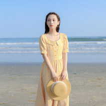 Dress Summer 2021 yellow XS,S,M,L Mid length dress singleton  Short sleeve commute Doll Collar High waist lattice zipper A-line skirt bishop sleeve Others 18-24 years old Type X Retro Button, zipper, resin fixation More than 95% other other