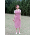 Dress Summer 2021 Pink XS,S,M,L Mid length dress singleton  Short sleeve commute One word collar High waist lattice zipper A-line skirt other Others 18-24 years old Type X Retro More than 95% other other