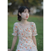Dress Summer 2021 Pink XS,S,M,L Mid length dress singleton  Short sleeve commute V-neck High waist Broken flowers zipper A-line skirt pagoda sleeve Others 18-24 years old Type X Retro Fold, lace up, zipper, resin fixation, printing More than 95% other other