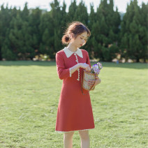 Dress Autumn of 2019 Deep brick red S,M,L Short skirt singleton  three quarter sleeve commute Polo collar High waist Solid color Socket A-line skirt routine Others 18-24 years old Type X Retro Stitching, buttons, resin fixation More than 95% other other