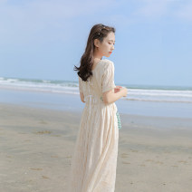 Dress Summer 2021 Apricot XS,S,M,L Mid length dress singleton  Short sleeve commute square neck High waist Solid color zipper A-line skirt routine Others 18-24 years old Type X Retro Bowknot, lace, stitching, zipper, resin fixation More than 95% other other