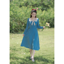 Dress Spring 2021 Blue, black XS,S,M,L Mid length dress singleton  Long sleeves commute Admiral High waist Solid color zipper A-line skirt routine Others 18-24 years old Type X Retro Bowknot, stitching, button, zipper, resin fixation More than 95% other other