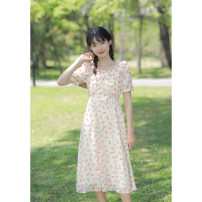 Dress Summer 2021 Orange pink XS,S,M,L Mid length dress singleton  Short sleeve commute Lotus leaf collar High waist Broken flowers zipper A-line skirt routine Others 18-24 years old Type X Retro More than 95% other other