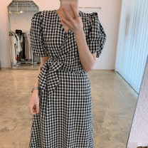 Dress Summer 2021 Red, black Average size Mid length dress singleton  Short sleeve commute V-neck High waist lattice Socket A-line skirt puff sleeve Others 18-24 years old Type A Korean version bow other