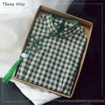cheongsam Spring 2020 XXL,XXXL,XS,S,M,L,XL three quarter sleeve long cheongsam literature High slit daily Oblique lapel lattice Piping cotton