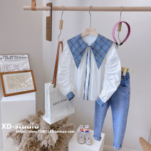 shirt White (spot) Other / other female spring and autumn Long sleeves Korean version Solid color other Lapel and pointed collar Other 100% G8024 other