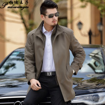 Windbreaker Business gentleman Single breasted Medium length easy Other leisure winter middle age stand collar Business Casual Polyester 90% polyamide 10% Solid color No iron treatment Side seam pocket Khaki Button decoration nylon Less than 30%