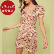 Dress Summer 2020 Decor XS,S,M,L,XL Short skirt singleton  Short sleeve commute V-neck High waist Decor Socket A-line skirt routine Others 18-24 years old Type A Retro Lace up, printed More than 95%