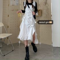 Dress Summer 2020 Average size Mid length dress Two piece set Sleeveless commute One word collar High waist A-line skirt camisole Korean version 31% (inclusive) - 50% (inclusive) brocade cotton