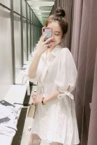 Dress Summer of 2019 white S,M,L,XL Short skirt singleton  elbow sleeve commute Polo collar High waist Solid color Single breasted shirt sleeve Other / other fold 30% and below other cotton
