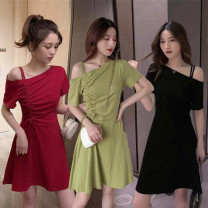 Dress Summer 2020 Red, green, black, random gift M,L,XL,2XL,3XL Middle-skirt singleton  Short sleeve commute middle-waisted Solid color routine Type A Other / other Korean version 31% (inclusive) - 50% (inclusive)