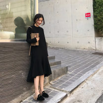 Dress Autumn 2020 black S,M,L,XL singleton  Long sleeves commute Crew neck Loose waist Solid color Socket Ruffle Skirt routine Others 18-24 years old Type A Other / other Korean version Lotus leaf edge knitting acrylic fibres