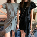 Dress Summer 2020 Gray, black M,L,XL,2XL,XXXL Short skirt singleton  Short sleeve commute Crew neck High waist Socket routine Others 18-24 years old Other / other