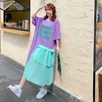 Women's large Summer 2020 Rose red, taro purple Large XL, 3XL Dress singleton  commute easy thin Socket Short sleeve letter Korean version Crew neck Medium length cotton Three dimensional cutting routine XYSS517 Other / other 25-29 years old Asymmetry 96% and above Medium length Irregular skirt