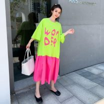 Women's large Summer 2020 Fluorescent green, plum red Big size average Dress singleton  commute easy thin Socket Short sleeve letter Korean version Crew neck Medium length cotton Collage routine XYSS8798327 Other / other wave 96% and above Medium length other Lotus leaf edge
