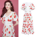 Dress Summer 2020 Dress S,L,M Mid length dress singleton  Short sleeve commute V-neck High waist Decor Socket Big swing puff sleeve Others 25-29 years old Printing, hollowing, stitching other