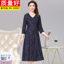 Dress Spring 2021 Navy, Burgundy L [recommended 95 ~ 110 kg], XL [recommended 110 ~ 125 kg], 2XL [recommended 125 ~ 140 kg], 3XL [recommended 140 ~ 155 kg] singleton  Crew neck 40-49 years old More than 95% other