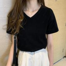 T-shirt White, black, grey S,M,L,XL Summer 2021 Short sleeve V-neck easy Regular routine commute cotton 86% (inclusive) -95% (inclusive) Korean version originality Solid color hole