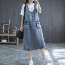 Dress Summer 2021 wathet Average size Mid length dress singleton  Sleeveless commute other Loose waist Solid color Socket other other straps 35-39 years old Type H Carmine feather Retro Button 51% (inclusive) - 70% (inclusive) Denim other