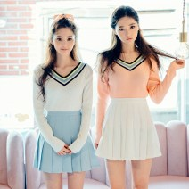 skirt Summer 2016 XS,S,M,L,XL,2XL,3XL Light blue, navy blue, taro purple, water pink, skin pink Short skirt commute High waist Pleated skirt Solid color Type A 18-24 years old 71% (inclusive) - 80% (inclusive) other other Button Korean version