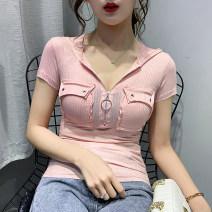 T-shirt S,M,L,XL,2XL Summer 2020 Short sleeve V-neck Self cultivation routine commute cotton 86% (inclusive) -95% (inclusive) Korean version originality Solid color, stitching
