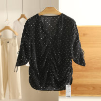 Lace / Chiffon Spring 2021 Dot letter S,M,L,XL,XXL elbow sleeve singleton  easy Regular Other / other