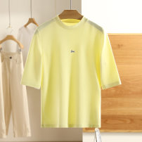 T-shirt The warbler tail is yellow and the pearl is white S,M,L,XL,XXL Spring 2021 Short sleeve Regular Viscose 51% (inclusive) - 70% (inclusive) Other / other