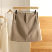 skirt Spring 2021 XS,S,M,L,XL Warm wood yellow Short skirt High waist Type A 91% (inclusive) - 95% (inclusive) Other / other