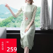 Dress Spring 2021 Green, pink S,M,L,XL,XXL Mid length dress singleton  elbow sleeve commute stand collar middle-waisted Broken flowers zipper A-line skirt routine Others 25-29 years old Type A ethnic style Embroidery 81% (inclusive) - 90% (inclusive) other polyester fiber